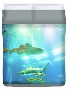 Undersea Shark Background Duvet Cover