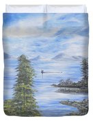 A Man Fishing Through With A Canoe In The Forestry River Duvet Cover