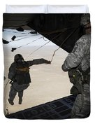 U.s. Airmen Jump From A C-130 Hercules Duvet Cover
