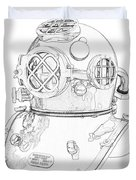 Us Navy Diving Helmet Mark V Duvet Cover