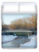 Valley Creek Waterfall In Winter  Duvet Cover
