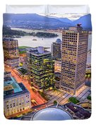 View Of Vancouver At Dusk. Duvet Cover