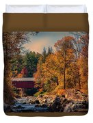 Vermont Covered Bridge Over The Dog River Duvet Cover