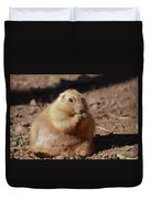 Very Large Overweight Prairie Dog Sitting In Dirt Duvet Cover