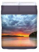 Vibrant Cloudy Sunrise Seascape Duvet Cover