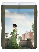 Victorian Woman In A Green Dress Duvet Cover