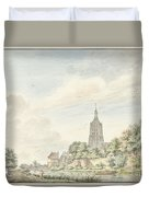 View Asperen With The City Walls And The Steeple Duvet Cover