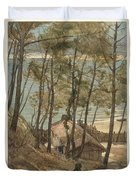 View From A Hill On A House On The Gulf Of Arcachon, August Allebe 1876 Duvet Cover