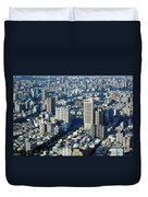 View Of A Crowded City Duvet Cover