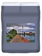 View Of Delaware Bridge At Erie Canal Harbor Duvet Cover
