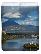 View Of Lake Bled From Ojstrica Duvet Cover