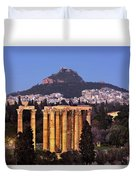 View Of The Temple Of Olympian Zeus And Mount Lycabettus In The  Duvet Cover