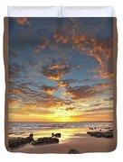 Gale Beach At Sunset. In Algarve Duvet Cover