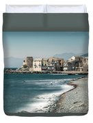 Village And Shingle Beach Of Erbalunga In Corsica Duvet Cover