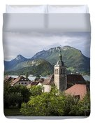 Village Of Talloires On The Banks Of Lake Annecy Duvet Cover