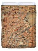 Vintage Map Of Hamburg Germany - 1910 Duvet Cover