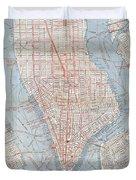 Vintage Map Of Lower Manhattan  Duvet Cover