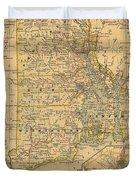 Vintage Map Of Rhode Island  Duvet Cover