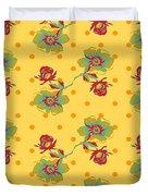 Vintage Wallpaper Seamless Rose Flower Pattern On Circles Polka  Duvet Cover