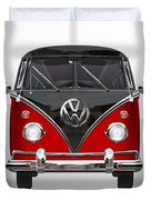 Volkswagen Type 2 - Red And Black Volkswagen T 1 Samba Bus On White  Duvet Cover by Serge Averbukh
