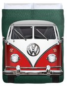 Volkswagen Type 2 - Red And White Volkswagen T 1 Samba Bus Over Green Canvas  Duvet Cover by Serge Averbukh