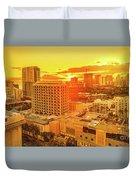 Waikiki City Sunset Duvet Cover