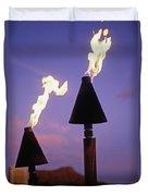 Waikiki, Tiki Torches Duvet Cover by Carl Shaneff - Printscapes
