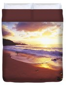Waimea Bay Sunset Duvet Cover