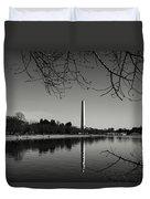 Washington Memorial Framed By Cherry Trees In The Winter Duvet Cover