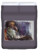 Man Watching Tv  Duvet Cover