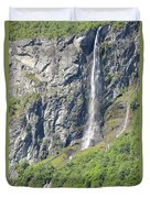 Waterfall In Geiranger Norway Duvet Cover