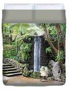 waterfall in tripcal garden Monte Madeira Duvet Cover