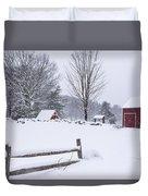 Wayside Inn Grist Mill Covered In Snow Storm Duvet Cover