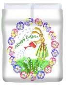 Welcome Spring.rabbit And Flowers Duvet Cover