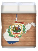 West Virginia Rustic Map On Wood Duvet Cover