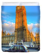 Westminster Bridge And Taxi Duvet Cover