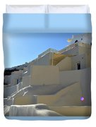 White Architecture In The City Of Oia In Santorini, Greece Duvet Cover
