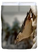 White Breasted Nuthatch In The Snow Duvet Cover