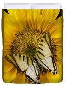 White Butterfly On Sunflower Duvet Cover