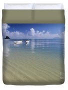 White Double Hull Canoe Duvet Cover