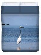 White Heron In The Keys Duvet Cover