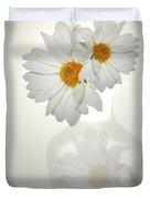 White On White Daisies Duvet Cover