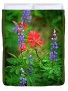 Wildflowers In Mountains Wilderness Duvet Cover
