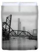 Willis Tower In Fog Duvet Cover