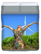 Wind Turbines Woman Duvet Cover