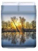 Winter Sunrise Over The Ouse Duvet Cover