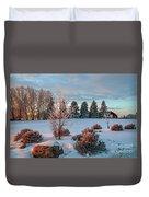 Winter Sunset In Weyburn Duvet Cover