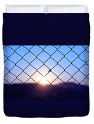 Wire Mesh Fence On A Sunset Background Duvet Cover