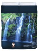 Woman At Waterfall Duvet Cover