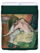 Woman Drying Herself Duvet Cover by Edgar Degas